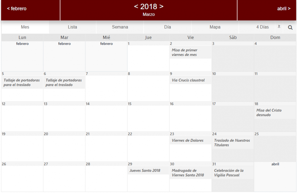 agenda-cofrade-marzo-2018